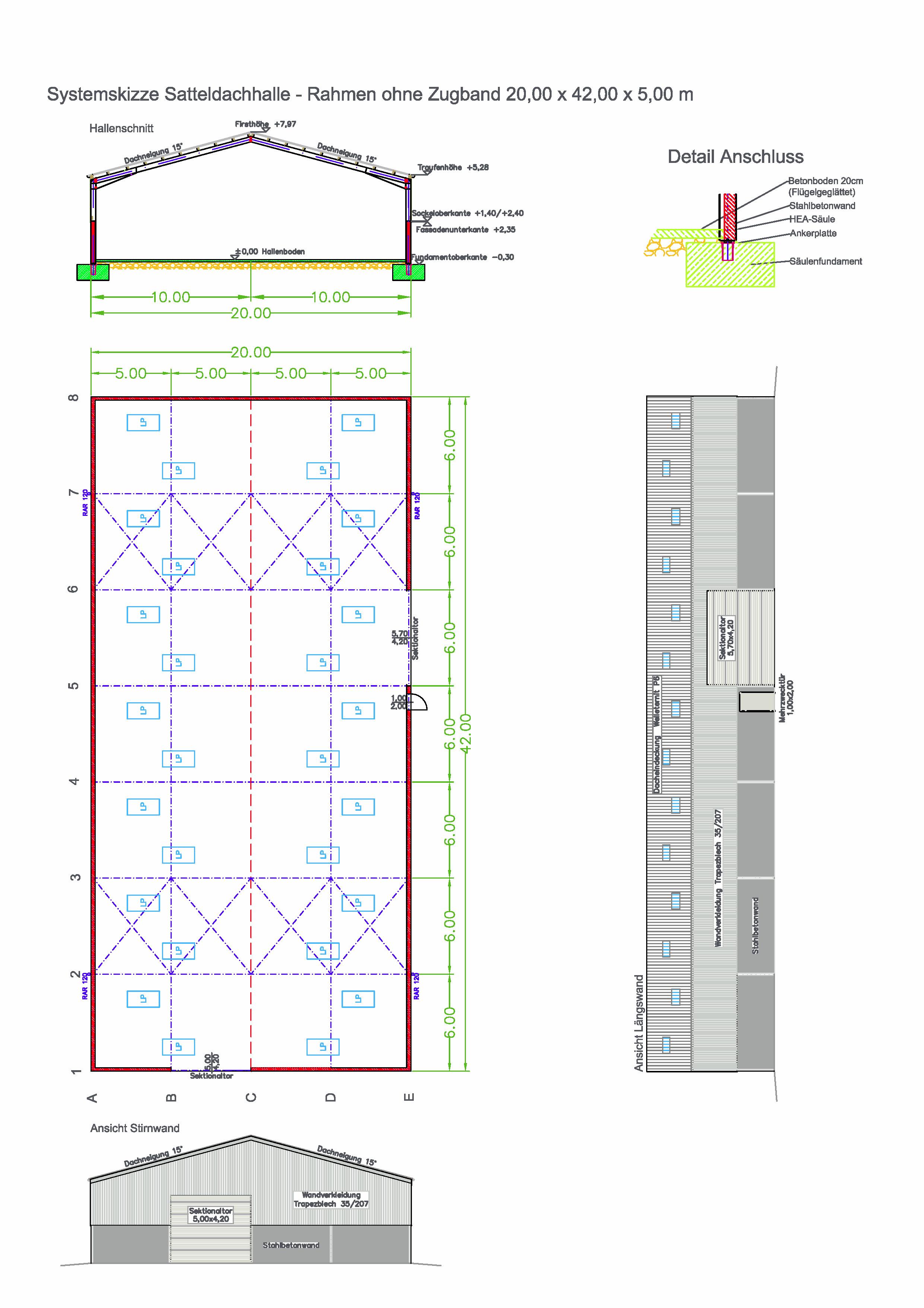 20 m Systemhalle Brantner Hallenbau